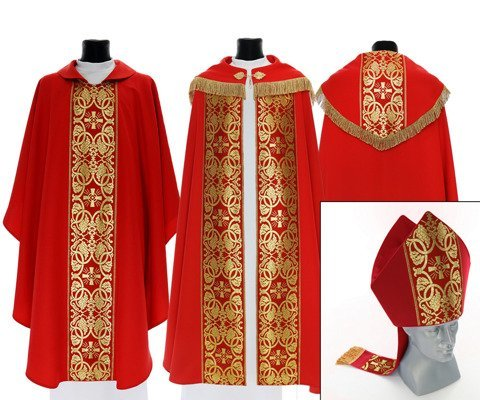 Red Set of Gothic Cope, chasuble and mitre model 005