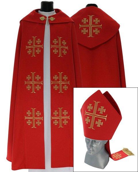 Set of Gothic Cope and Mitre Jerusalem crosses model 723