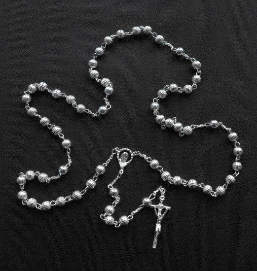 Silver Rosary 925 grooved ball