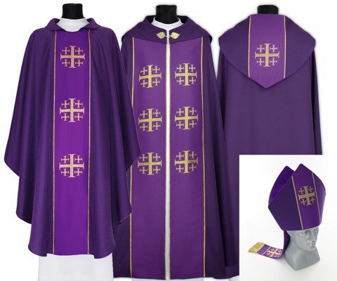 Gothic Cope with mitre & chasuble Jerusalem Crosses model 009