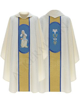 White Marian Gothic Chasuble Our Lady of Providence model 451